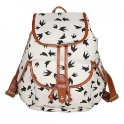 Gentlewoman Style Swallow Printed Canvas Leisure Backpacks Rucksack