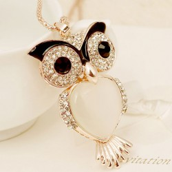 Flash Owl Heart Opal Long Rhinestone Necklace