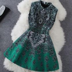 Classic Stand Collar Beaded Retro Flower Print Dress