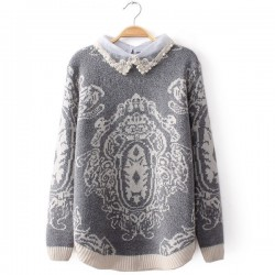 Pearl Diamond Lace Collar Stitching Totem Sweater