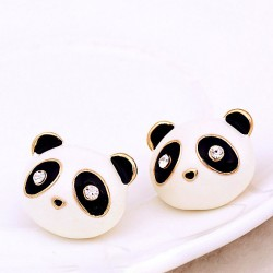 Sweet Drip Diamond Eyes Cute Animals Little Panda Earrings
