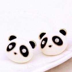 Sweet Drip Diamond Eyes Cute Animals Little Panda Earrings