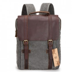 College Retro Large Capacity Square Travel Backpack Satchel Solid Zipper Double Hasp Canvas School Bag
