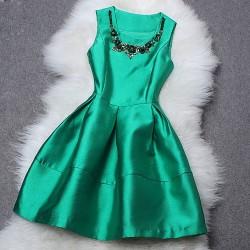 Round Collar Beaded Sequin Sleeveless Dress