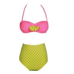 Fresh Retro Sexy High Waist Beach Swimsuit Split Bikini
