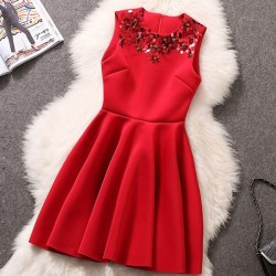 Space Cotton Sequin Beaded Slim Princess Dress