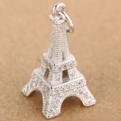 Romantic Eiffel Tower Silver Zircon Pendant Women Necklace