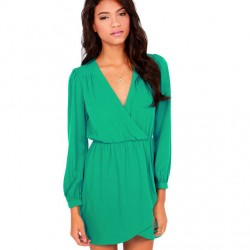 Casual V Neck Long Sleeve Chiffon Dresses