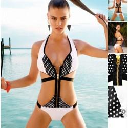Stylish One Piece Zipper Wireless Halter Strapped Bikinis