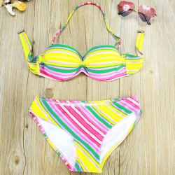 Bright Colors Striped Print Woman Bikini Swimsuit Swimwear