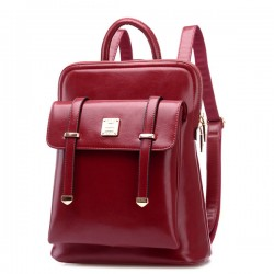College Style Double Buckle Shoulder Bag Backpack