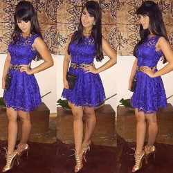 Slim Lace Sleeveless Purple Party Dress