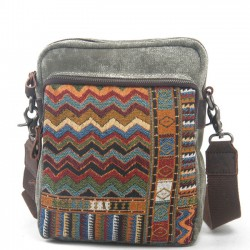 Folk Style Leisure Mixed Color Canvas Shoulder Bag Messenger Bag