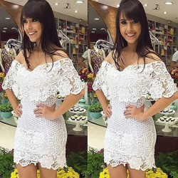 Elegant Perspective Floral White Lace Dress