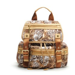 Cartoon Unique Tiger Printing Leather Rucksack Schoolbag Travel Backpack