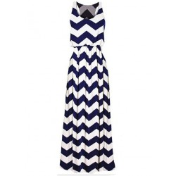 Wrapped Chest Package Hip Wavy Stripes Sleeveless Long Dress