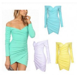 Deep V Off Shoulder Long Sleeve Short Dresses