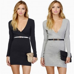 Office Lady Style Deep V Long-sleeved Dresses