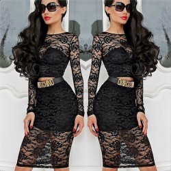 Nightclub See Through Two Piece Sexy Lace Dress