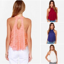 Openwork Back Lace Halter Sexy Tops