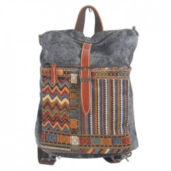 Folk Pattern Stripe Hasp Multifunction Shoulder Bag Messenger Bag Backpack