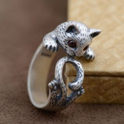 Cute Cat Animal Pure Silver Ring