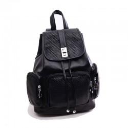 Casual Fashion Diamond Grid Drawstring Hasp Three Pockets Solid Leather Backpack
