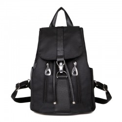 Leisure Simple Waterproof Oxford Drawstring Hasp Solid Women Backpack