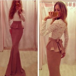 Fashion Two Piece Back Bow Long Lace Dress
