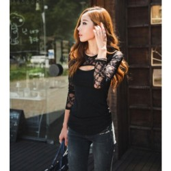 Stitching Lace Sexy Nightclub Shirt