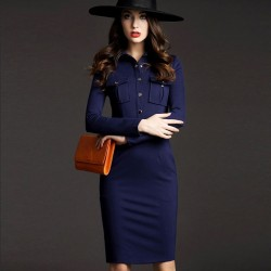 Fashion OL Style Elegant Slim Lapel Long Dress