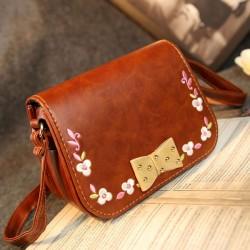 National Bow Embroidered Shoulder Bag Messenger Bag