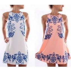 Blue White Porcelain Printed Sleeveless Dresses