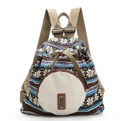 Fresh Folk Geometry Snowflake Pattern Front Circular Pocket Travel Backpack