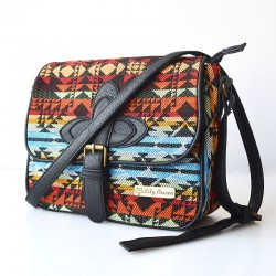 Folk Style Geometry Waves Canvas Shoulder Bag