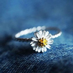 Girl Lovely Daisy Opening Rings Anti-allergy Rings