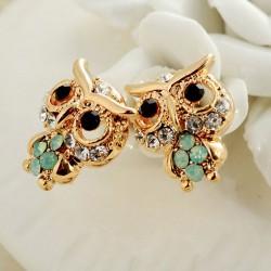 Refined Diamond Cute Baby Owl 18K Gold-plated Fashion Earrings