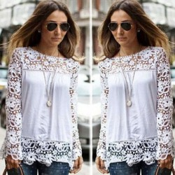 Hollow Lace Long Sleeve Chiffon Blouses Shirts