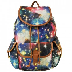 Fresh Fantastic Galaxy Shining Star Drawstring Hasp Travel Backpack School Bag College Satchel