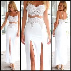 Lace Split Wrapped Parties Dress