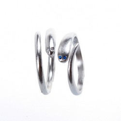 Original Simple Mosaic Sapphire Eyes Serpentine 925 Silver Opening Ring