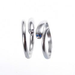 Original Simple Mosaic Sapphire Eyes Serpentine 925 Silver Opening Ring