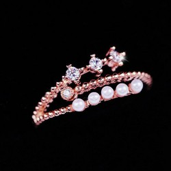 Personality Pearl Zircon Opening Ring Forefinger Ring