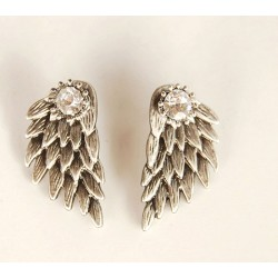 Graceful Feather Angel Wings Rhinestone Earrings