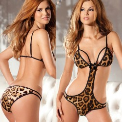 Sexy Lady's Wild V-neck Leopard Printing Front Hollowed-out Backless Jumpsuits Lingerie