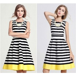 Strapless Round-Neck Stripe Slim Dress