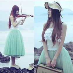Sweet Princess Style Mesh Big Swing Skirt