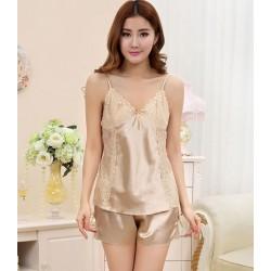Sexy Temptation Silk Harness Straps Two-piece Pajamas