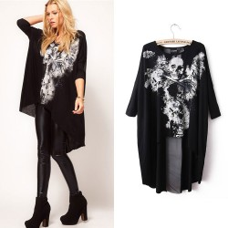 Fashion Skull Print Dovetail Sleeve T-shirts