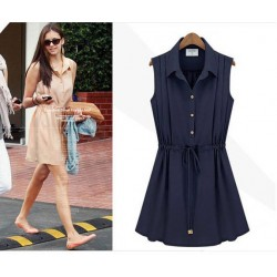 Fashion Style Navy Blue Chiffon Sleeveless Dress